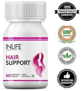 Inlife Hair Support Supplement, Bhringraj, Brahmi, Ashwagandha and other Ayurvedic Herbs 500 mg - 60 Vegetarian Capsules  (60 No)