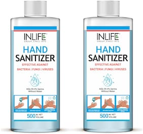 INLIFE Hand Sanitizer 70% Alcohol Germ Protection & Anti-Bacterial 500ml (Pack Of 2)