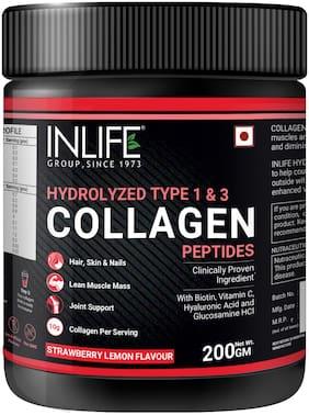 INLIFE Hydrolyzed Collagen Peptides Powder Supplements Type 1 and 3, Biotin, Vitamin C, Hyaluronic Acid, Glucosamine, Skin Health for Men & Women 200g