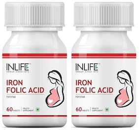 INLIFE Iron Folic Acid;60 Tablets For Prenatal Health Of Women (Pack of 2)