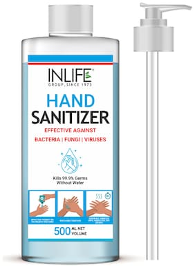 INLIFE Liquid Instant Hand Sanitizer 70% Isopropyl Alcohol Based Sanitizing Germ Protection  500ml (with Pump)