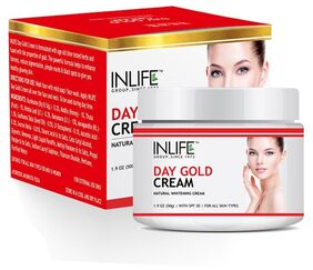 INLIFE Natural Day Gold Cream 50 g With SPF 20 For Skin Whitening & Acne Scars