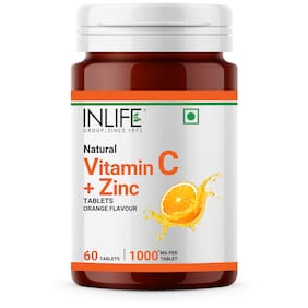 INLIFE Natural Vitamin C 1000mg Amla Extract with Zinc 10mg Immunity Booster Supplements for Men Women 60 Tablets (Orange) (Pack of 1)