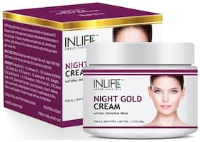Inlife Natural Night Gold Cream 50 g Skin Whitening Anti Aging For Men Women