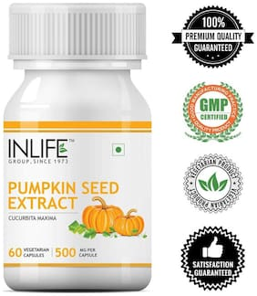 Inlife Pumpkin Seed Extract Supplement 500 mg - 60 Vegetarian Capsules