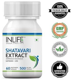 Inlife Shatavari Extract Asparagus Recemosus (Saponins > 20%) Women's Wellness Supplement 500 mg - 60 Vegetarian Capsules