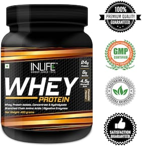 INLIFE Whey Protein Powder blend of Isolate Hydrolysate Concentrate Bodybuilding Supplement - 0.36 kg (0.8 lb) (Chocolate Flavour)