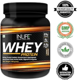 Inlife Whey Protein Powder Blend Of Isolate Hydrolysate Concentrate Bodybuilding Supplement - 400 g (Chocolate Flavour)