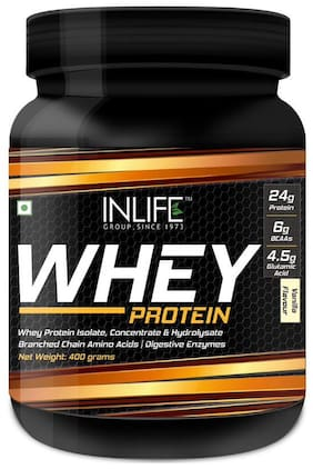 Inlife Whey Protein Powder Body Building Supplement(Vanilla Flavour (1 lb)/(400 g))