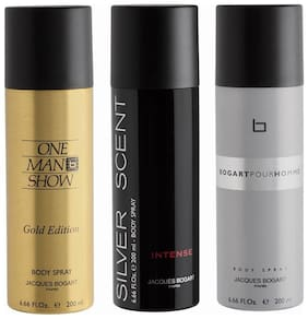 Jacques Bogart One Man Show Gold & Silver Scent & Intense & Pour Homme Deo Combo Set(Pack of 3)