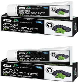 Jagat Devsutra Dr. Trusted Ayurvedic HERBAL Activated Charcoal Toothpaste for Teeth Whitening - 100% Natural Formula with Mint Flavour, No Fluoride & Artificial Colours - (100g x 2)  Pack of 2