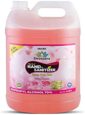Jagat ISO Certified Rose Flavour 5 L Hand Herbal Sanitizer with Aloevera, Tulsi & Neem Leaf Extracts Pack of 1 5L