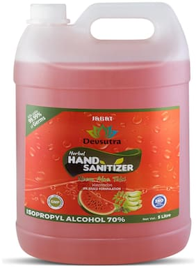 Jagat ISO Certified Watermelon Flavour 5 L Hand Herbal Sanitizer with Aloevera  Tulsi & Neem Leaf Extracts Pack of 1 5L