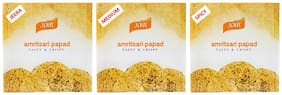JAGS Amritsari Hand Made Best Quality Papad  Pack of 3 Flavors -Plain/Medium/Spicy 250 GMS