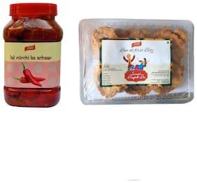 JAGS Delicious Homemade Red Chilli Stuffed Pickle/ lal mirchi ka achaar - 500g and JAGS Homemade Besan Mathi/Mathri, 200g