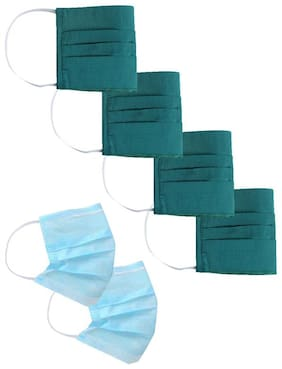 Jaipur Kurti Reusable Cotton Dust Protector Designer Face Mask With Ability To Insert Medical Filter Pack Of 6 pcs (4 pcs Of Mask And 2 pcs of surgical masks)