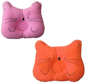 JBG Home Store Soft and Comfortable Baby Pillow Color-Orange/Pink (Pack of 2)