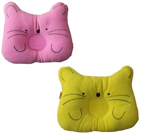 JBG Home Store Soft and Comfortable Baby Pillow Color-Pink/Yellow (Pack of 2)