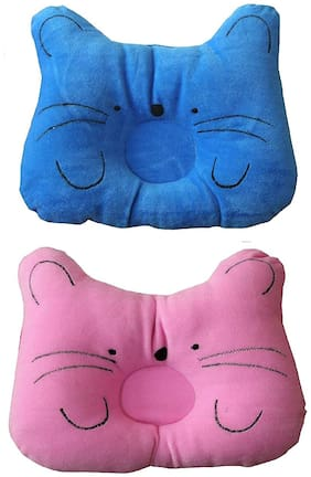 JBG Home Store Soft and Comfortable Baby Pillow Color-Blue/Pink (Pack of 2)