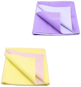 JC Baby Dry Sheet Yellow, Purple (Pack of 2)