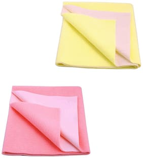 JC Baby Dry Sheet Yellow,  Pink (Pack of 2)