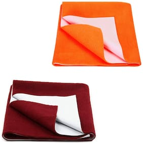 JC Baby Dry Sheet Orange, Maroon (Pack of 2)