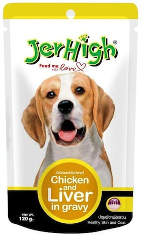 JerHigh Wet Dog Food, Chicken and Liver in Gravy, 120 g (Pack of 3)