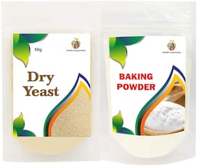Jioo Organics Baking Powder/Cooking Soda and Instant Active Dry Yeast Combo
