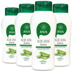 Jiva Aloe Vera Lotion (200 ml) Hydrates and nourishes your skin (Pack of 4)