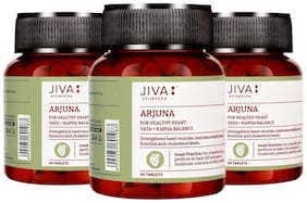JIVA Arjuna Tablets (60 tablets) Strengthens heart and manages blood pressure (Pack of 3) 60g Each