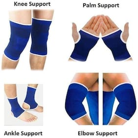 JMO27Deals Combo of Ankle  Palm  Knee  Elbow Support  Guard  Braces (Blue  Free Size)