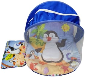 JMT Surfing Penguin Digital Printed Soft and Comfortable New Born Baby Bedding Set with Protective Mosquito Net and Pillow
