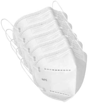Jo Anti Polllution Activates N95 Mask Washable Reusable with Melt Blown Filter(5 Layer) (White;Free Size) ( Pack of 5)