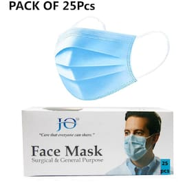 JO  Mask   Face Masks Disposable   3 ply Layer   Use And Throw   With Nose Clip Pin   Pollution And Dust Protection   Men And Women - Pack of 25 pieces