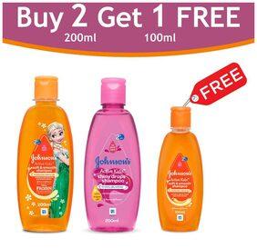 Johnson's Active Kids Shiny Drops Shampoo (Pink) 200ml +Soft & Smooth (Orange) 200ml & Soft & Smooth (Orange) Free (Buy 2 Get 1 Free)