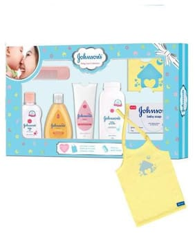 Johnson's Baby Care Collection Baby Gift Set - with Organic Cotton Baby T-Shirt 7 pcs