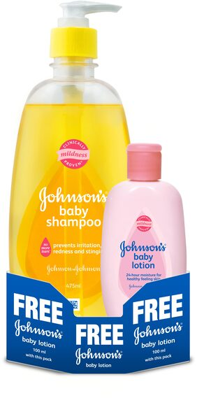 Johnson's Baby Shampoo - No More Tears 475 ml + Johnson's Lotion 100ml Free
