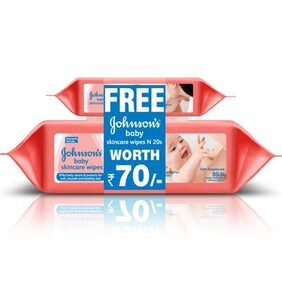 Johnson s Baby Skincare Wipes 80s with 20 wipes FREE
