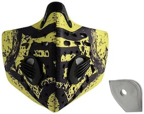 Jonty Green Print Neoprene PM 2.5 N95 Anti Pollution Activated Carbon Dust Face Mask + Breathing Valve and Carbon Filter (Pack of 1)