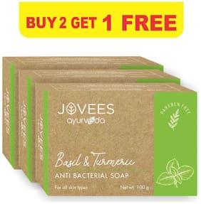 Jovees Herbal Basil & Turmeric Anti-Bacterial Soap Purify And Refresh Buy 2 Get 1 Free 100g Each