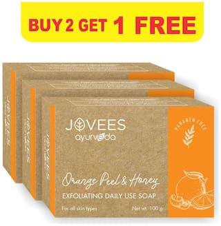 Jovees Herbal Orange Peel & Honey Exfoliating Daily Use Soap Buy 2 Get 1 Free 100g Each