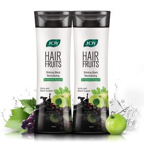 Joy Hair Fruits Shining Black Revitalizing Shampoo( Amla & Black Grapes)(Pack Of 2 X 400 Ml)