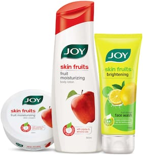 Joy Skin Fruits Fruit Moisturizing Body Lotion 500 ml + Joy Skin Fruits Fruit Moisturizing Skin Cream 200 ml + Joy Skin Fruits Active Fairness(Lemon) Face Wash 100 ml