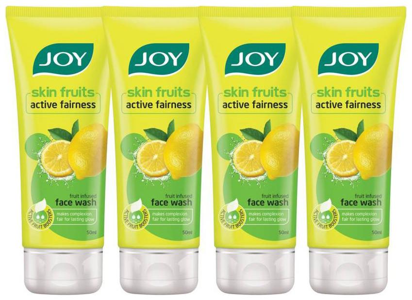 Joy Skin Fruits Active Fairness Face Wash  Lemon  Pack Of 4 X 50 ml