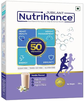 Jubilant Nutrihance - Immunity Booster, Nutritional Drink Helps Promote Heart Health, Weight management and improved Energy (Vanilla) 200g