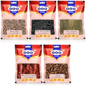 Just Seg Whole Spices Masala -Tejpatta 50g Red Chilli 50g;Kali Mirchi 50g;Sabut Jeera 100g;Laung 50g(Pack Of 5)