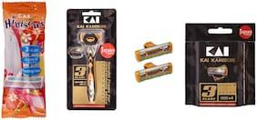 Kai_Hibiscus 3 Blade Razor for women + K3 Razor for Men + 3 Blade Razor cartridge 2 pcs