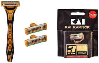 Kai_K3 3 blade razor for men + 3 Blade razor cartridge 2 pcs