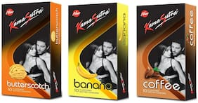 Kamasutra Butterscotch 10s, Banana 10s and Coffee 10s Condoms  (Pack of 3)