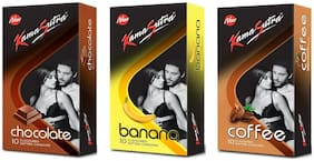 Kamasutra Chocolate 10s, Banana 10s and Coffee 10s Condoms  (Pack of 3)